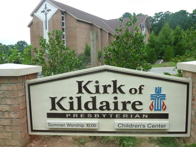 Kirk of Kildaire Presbyterian Chruch and Sign with Summer Worship time and Children's Center in Cary NC