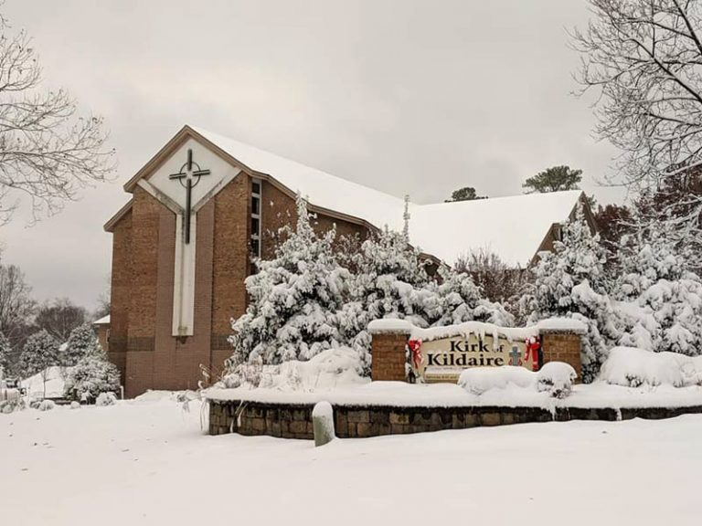Snow December 9 2018 on the Kirk of Kildaire Presbyterian Campus in Cary NC