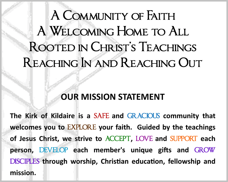 Misson Statement graphic Kirk of Kildaire Presbyterian